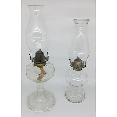 Two Molded Glass Oil Lamps