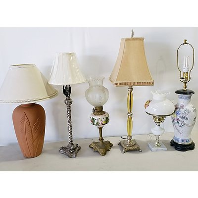 Group of Decorative Ceramic and Glass Table Lamps