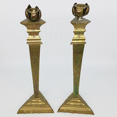 Pair of Engraved Chinese Brass Candle Sticks