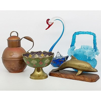 Indo Persian Rose Bowl, Brass Dolphin, Antique Guernsey Copper Pot, and Art Glass Pieces