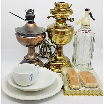 Lamps, Soda Syphon, Royal Australian Navy Printed Porcelain, and Saville Row Brushes
