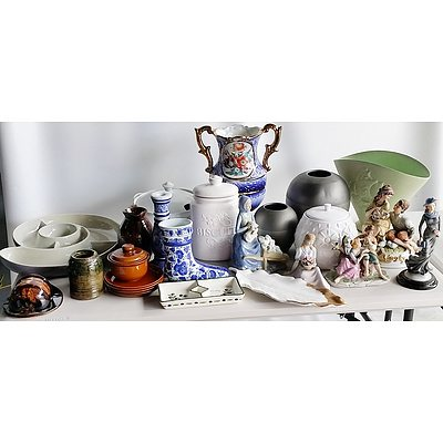 Group of Ceramic Plates, Figures, Vases, and others