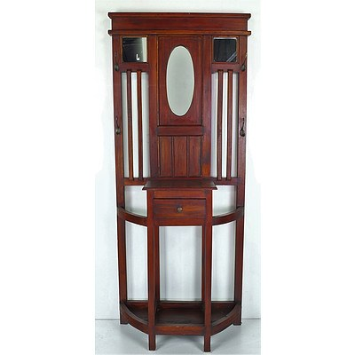 Stained Maple Hall Stand with Central Mirror