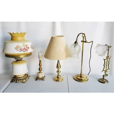 Group of Decorative Glass and Brass Table Lamps