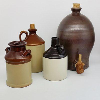 Lot of Stoneware Including Bendigo Drink Dispenser