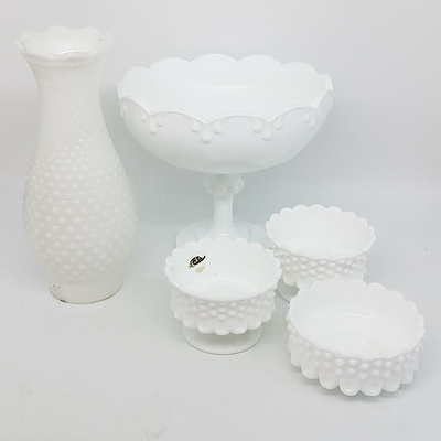 Footed Bowl, Vase, and Candlesticks Milk Glass Set