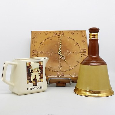 Amberglade English Porcelain Jug, Bell's Scotch Whisky Bottle, and Leather Clock