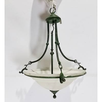 One Large Hanging Light, Pair of Electroliers, and Three Wall Scones
