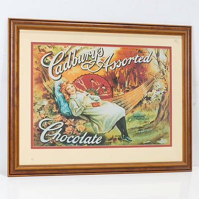 Five Offset Advertising Prints Including Cadbury's Assorted Chocolate, Coleman, and Hardie