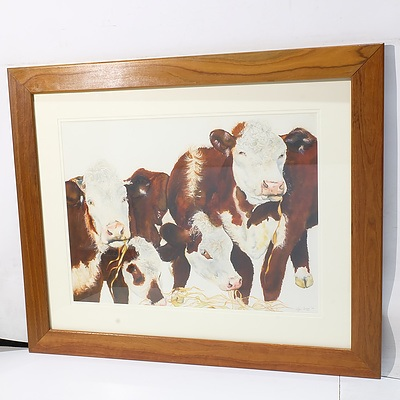 Lyn Gregg Cattle Grazing 2004 Watercolour