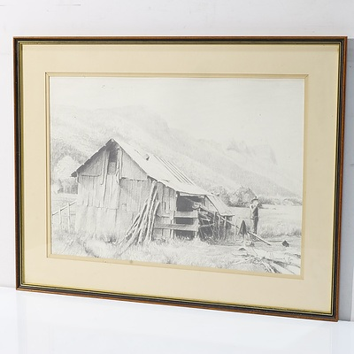 Three Graphite Works Including A Caricature, and Bush Hut Murray 1986