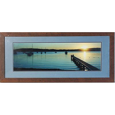Two Offset Prints and One Photograph of Sunset Scene Over The Pier