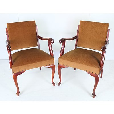 Two Vintage Armchairs With Velvet Upholstery and Creole Legs