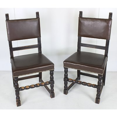 Two Tudor Style Dining Chairs
