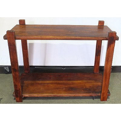 Rustic Stained Hardwood Hall Table