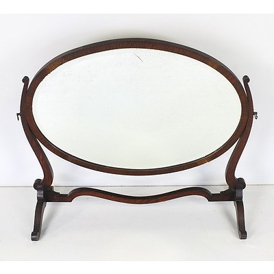 Vintage Waring and Gillow Oval Beveled Glass Toilet Mirror
