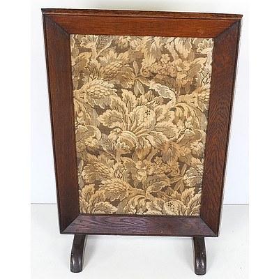 Antique Oak Framed Tapestry Fire Screen