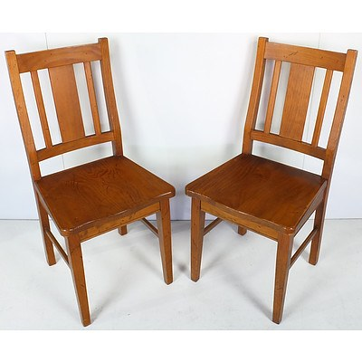 Group of Seven Contemporary Varnished Hardwood Dining Chairs