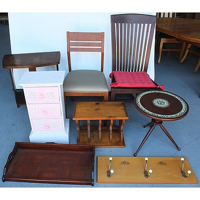Assortment of Household Furniture, Including Tile Base Wine Table, Pine Pigeon Holes and More
