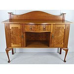 Contemporary Ash Sideboard with Marquetry Doors and Creole Legs