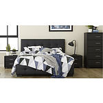 Focus on Furniture Black Faux Leather 4 Piece Queen Size Bedroom Suite