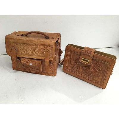 Vintage Leather Bag Set