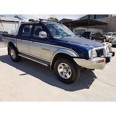 1/2002 Mitsubishi Triton GLS (4x4) MK Double Cab Utility Blue / Silver 3.0L