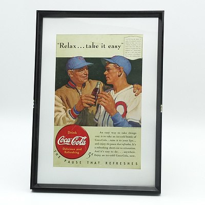 Framed 1940 Coca Cola Relax Take it Easy Advertisment