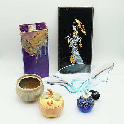 Tall Art Glass Vase and Bowl, Perfume Atomiser, Royal Venton Ware Peach Shaped Sugar Bowl and More