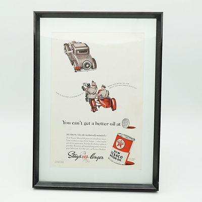 1938 Texaco Motor Oil Advertisement