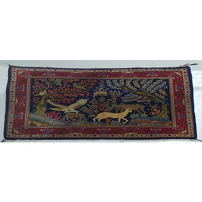Persian Hand Knotted Rug With Hunting Scene Motif