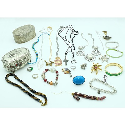 Large Collection of Costume Jewellery and Jewellery Box