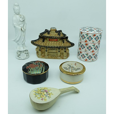 Collection of Japanese Trinket Boxes, Decanter, Sake Cups and Guanyin Figure