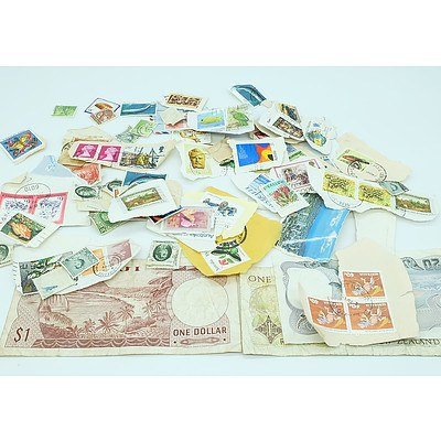 Group of Foreign Stamps and Coins