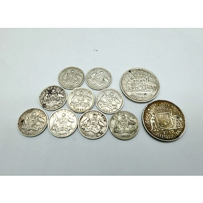 Nine Sixpence Coins and Two 1940s Florins