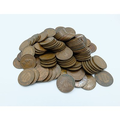 One Hundred and Twenty Nine Half Pennies, Twenty Nine Pennies and a Group of Other Mixed Coins