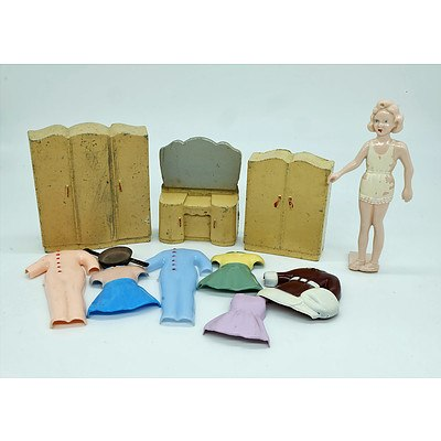 Vintage Plastic Dolls Dress Up Set with Painted Cast Metal Doll House Bedroom Set