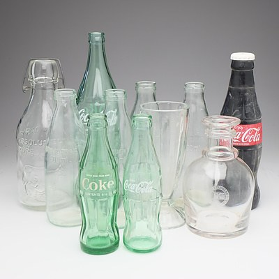 Group of Vintage Coke, Milk and Other Glass Bottles