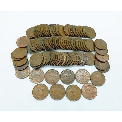 Group of 100 Australian Half Pennies