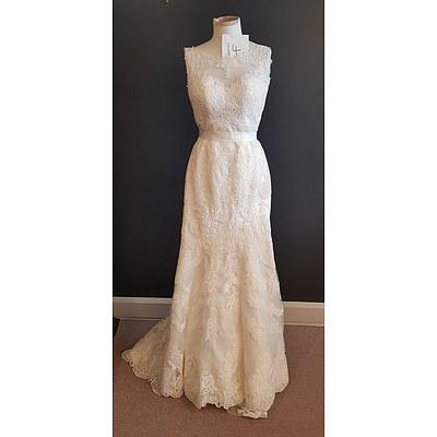 Stella Yorke  Low Illusion Back Wedding Dress - Size 10