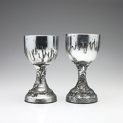 Two Don Sheil Signed Wrought Aluminium Stalagmite Goblets RRP $540