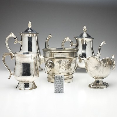 Group of Silver Plate, Including Champagne Bucket, Tankard, Gravy Boat, Lighter and More