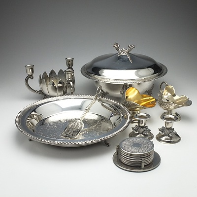 Group of Silver Plate, Sugar Scuttle, Coasters, Butlers Tray, Goblets and More