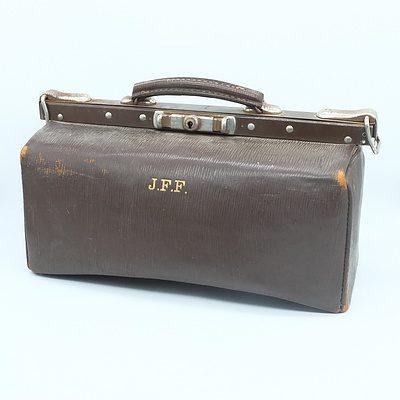 Vintage Leather Doctors Bag Initialled JFF