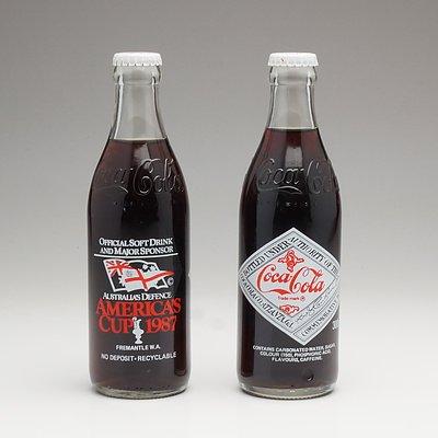 Pair of Coca Cola America's Cup 1987 Commemorative Bottles