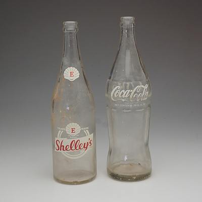 Coca Cola 26 1/2 Fl OZ Glass Bottle and a Shelley Cordial 26 Fl Oz Glass Bottle