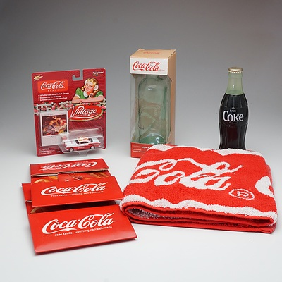 Coca Cola Die Cast Model Car, Radio, Bar Runner and Other Novelties