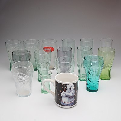 Group of Collectable Coca Cola Glasses and a Mug