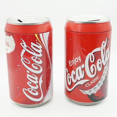 Two Coca Cola Money Tins