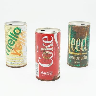 Group of Vintage Tins, Including Coke, Leed Lemonade and Mello Yello